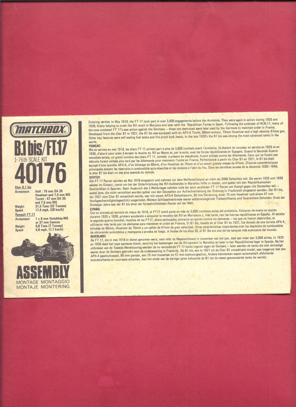 [MATCHBOX] Char B.1 bis et RENAULT FT 17 1/76ème Réf 40176 Notice Matchb23