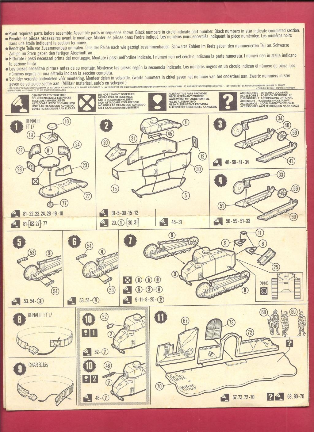 [MATCHBOX] Char B.1 bis et RENAULT FT 17 1/76ème Réf 40176 Notice Matchb25