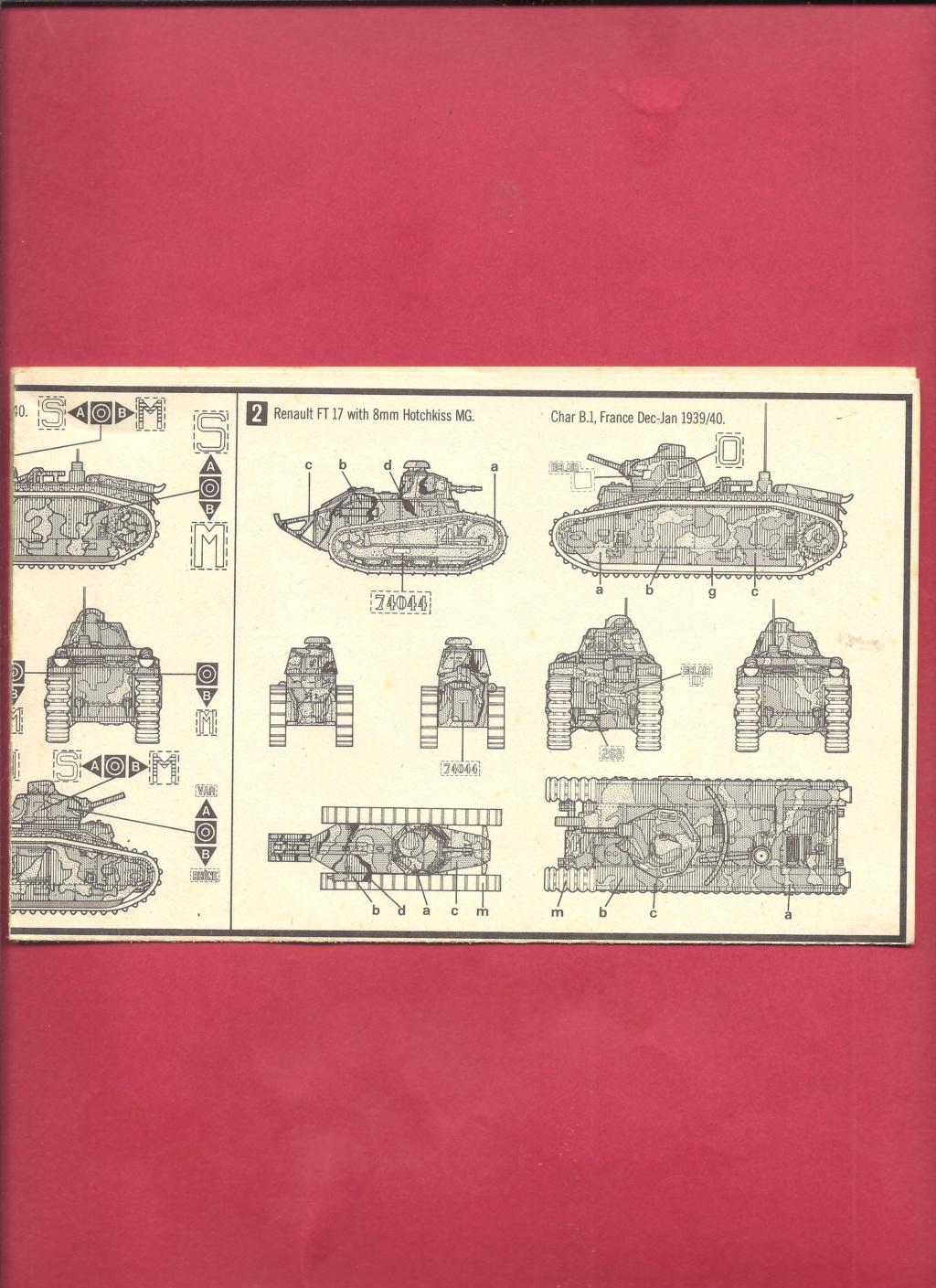 [MATCHBOX] Char B.1 bis et RENAULT FT 17 1/76ème Réf 40176 Notice Matchb27