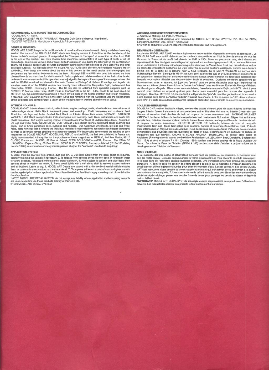 [MODEL ART] Planche de décals  DOUGLAS C-47, MORANE SAULNIER MS 474 VANNEAU & GLOSTER METEOR F 8 1/72ème Réf 72-20 Model_26