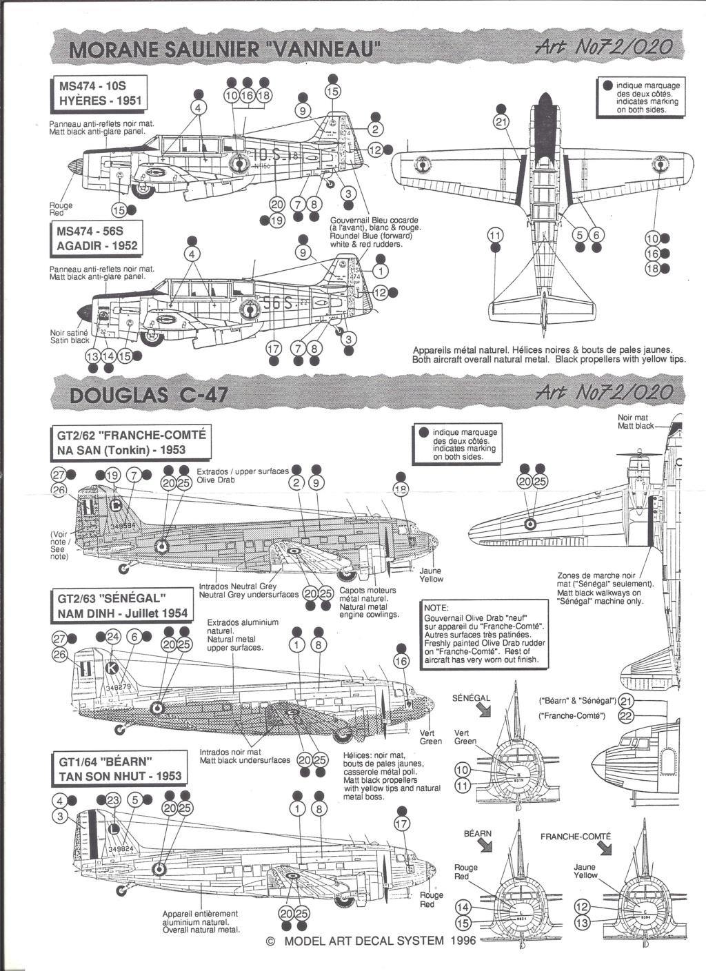 [MODEL ART] Planche de décals  DOUGLAS C-47, MORANE SAULNIER MS 474 VANNEAU & GLOSTER METEOR F 8 1/72ème Réf 72-20 Model_27
