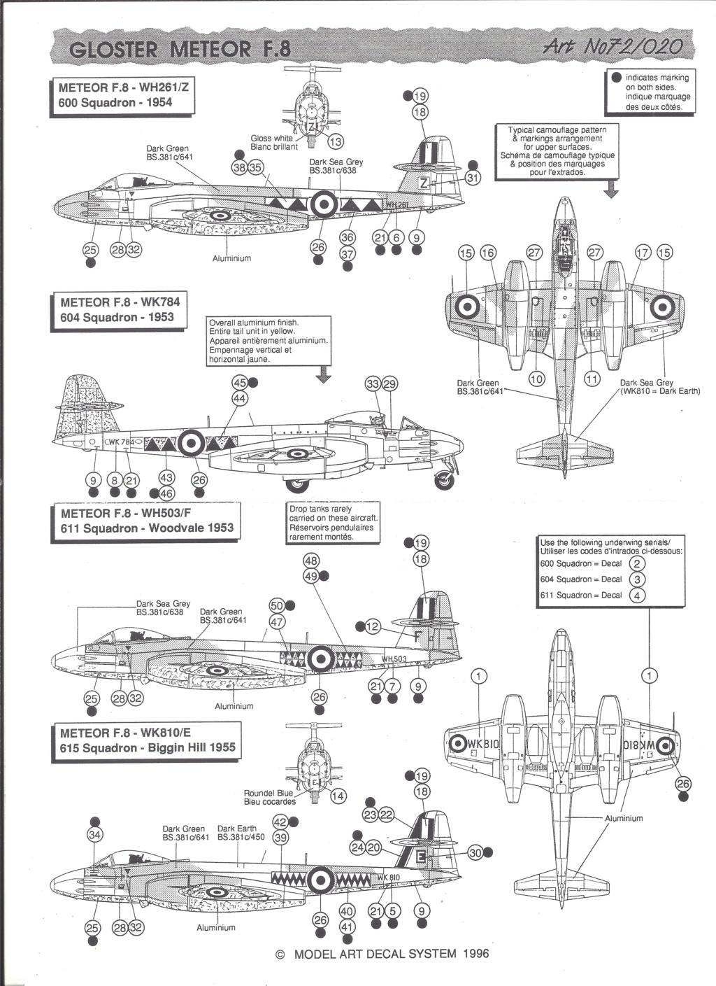 [MODEL ART] Planche de décals  DOUGLAS C-47, MORANE SAULNIER MS 474 VANNEAU & GLOSTER METEOR F 8 1/72ème Réf 72-20 Model_28