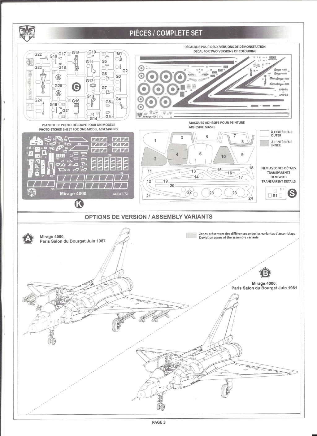 [MODELSVIT] DASSAULT MIRAGE 4000 1/72ème Réf 72052 Notice Models12