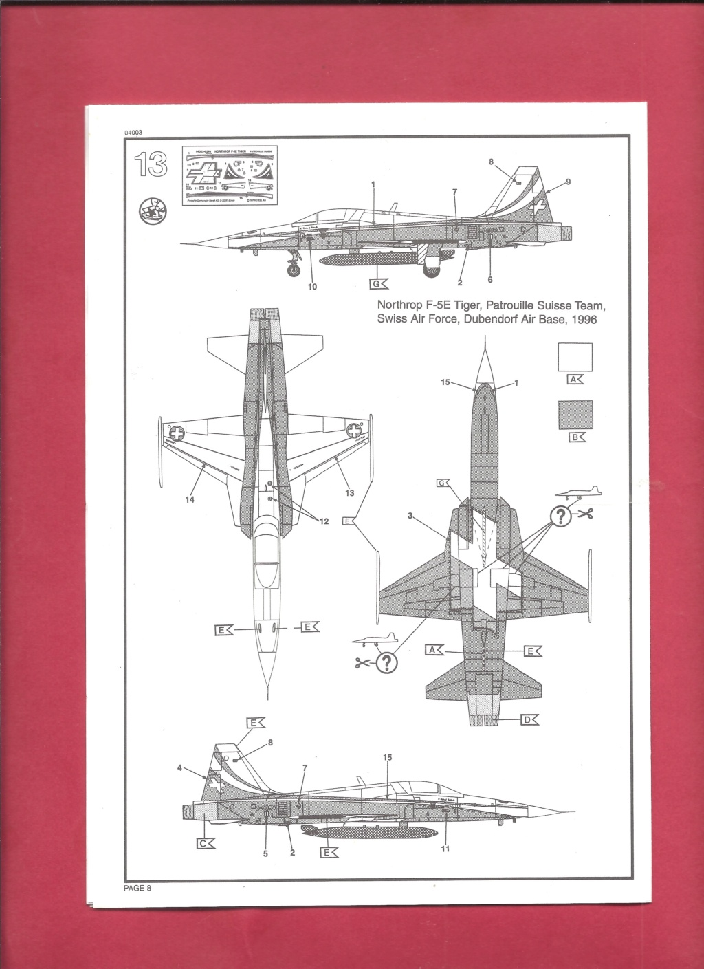 NORTHROP - [REVELL] NORTHROP F 5 E Patrouille SUISSE 1/144ème Réf 4003 Revel439