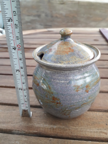 Honey pot- nice blue glaze with orange detail. No marks 20200844