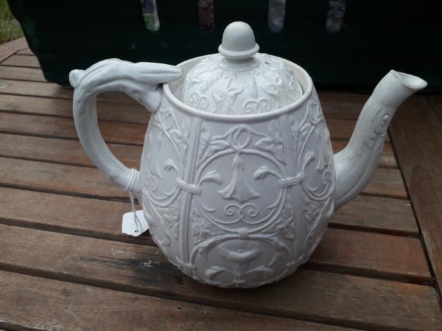 19th century? Staffordshire? Salt glaze? White teapot - convolvulus pattern 20200914