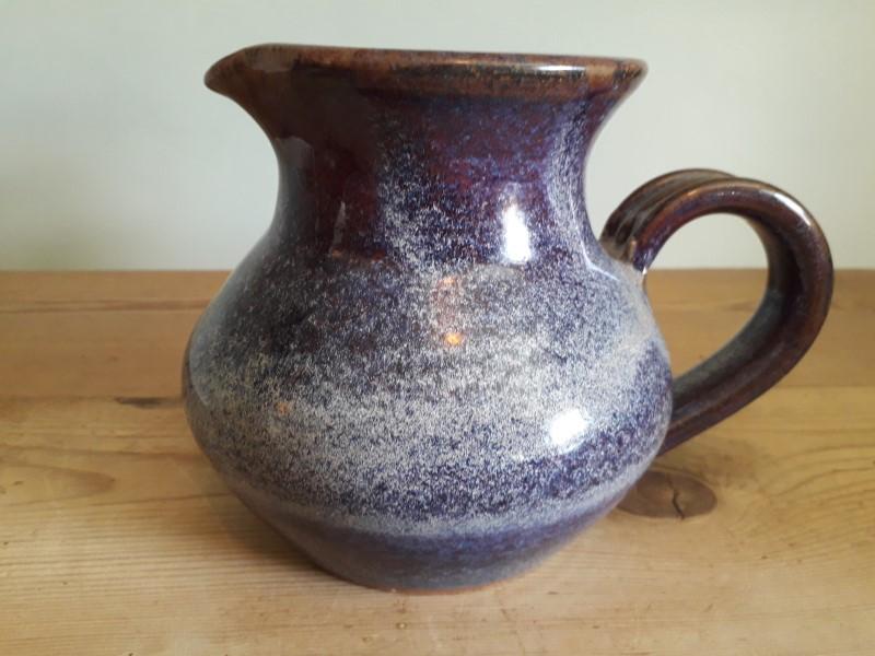 "Blue mottle glaze bowl 8"" across - mark MB? HB? WB? Jug_111"