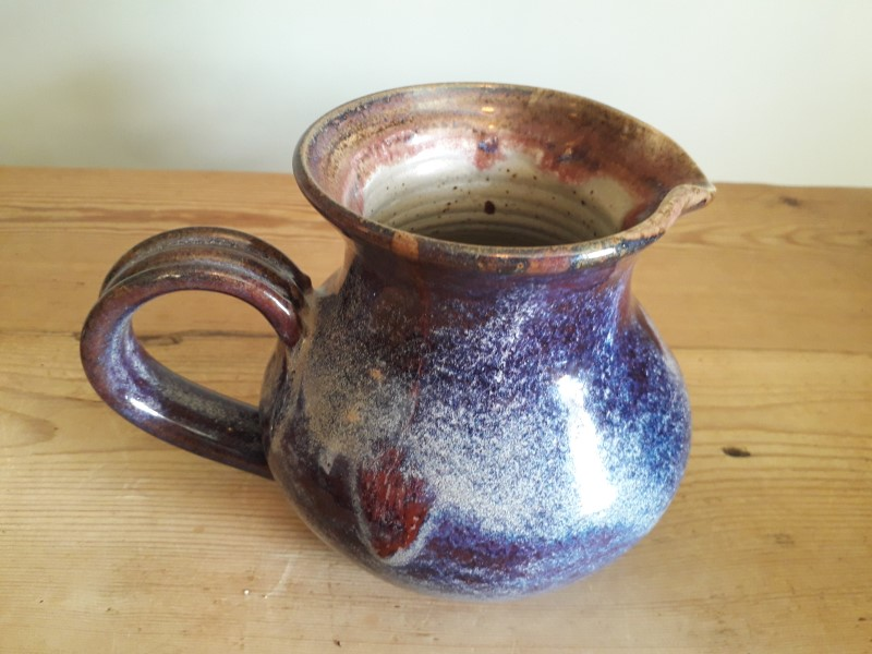 "Blue mottle glaze bowl 8"" across - mark MB? HB? WB? Jug_211"