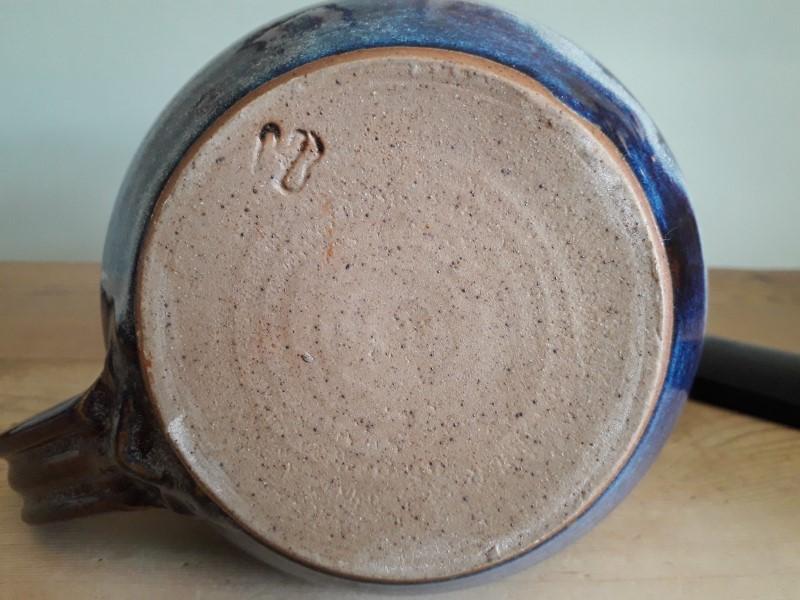 "Blue mottle glaze bowl 8"" across - mark MB? HB? WB? Jug_ma11"