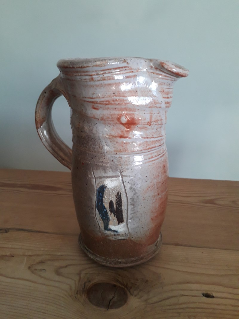 Rustic studio jug (coiled?) with ambiguous mark - LH? CH? HF? Jug_si13