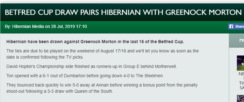Hibs v Morton - Betfred Cup Screen11