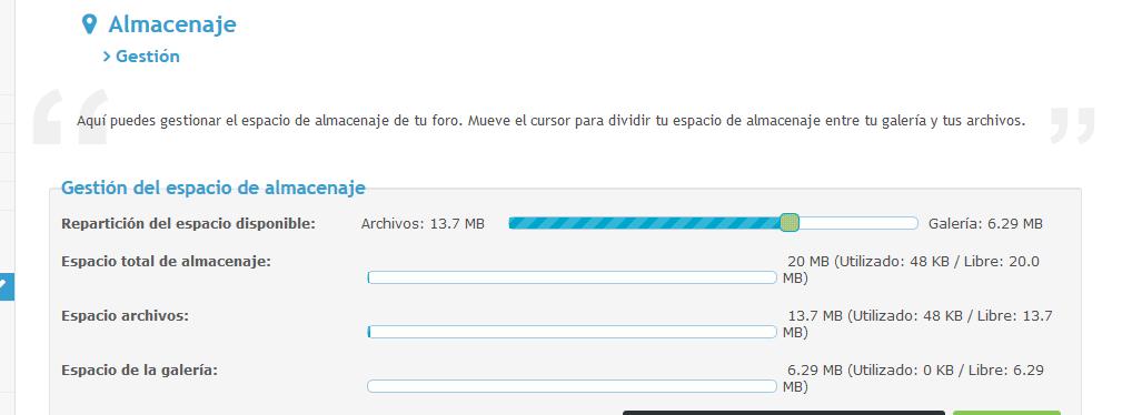 Funcionamiento del  espacio de almacenamiento  Screen42