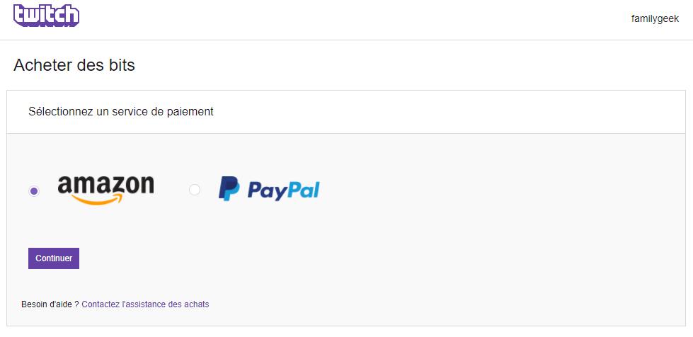 Acheter des Bits sur Twitch avec Paypal Captur14