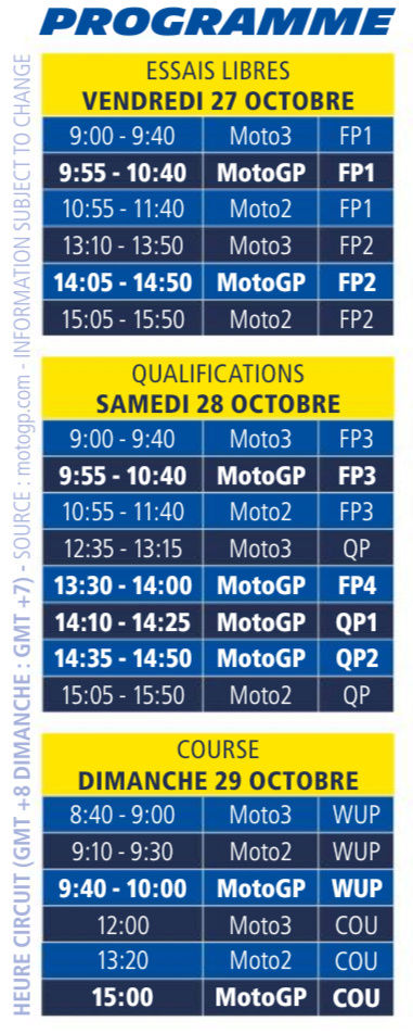 Programme Motogp Malaysie horaires, classement, analyses... Screen12