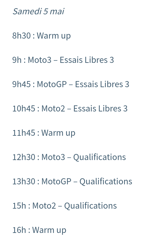 Horaires Motogp Jerez : pour ne rien rater ! Screen33