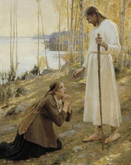 CHRIST ET MARIE-MADELEINE, UNE LÉGENDE FINNOISE (1890) -- A. EDELFELT Christ10