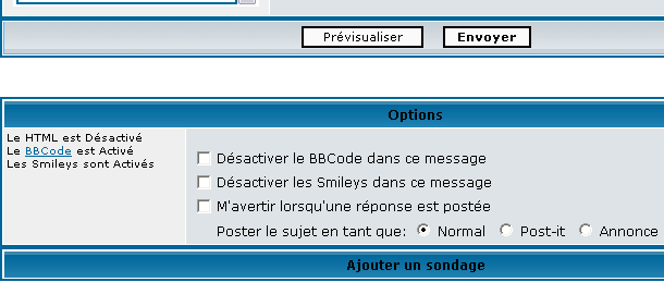Configuration des messages Option10