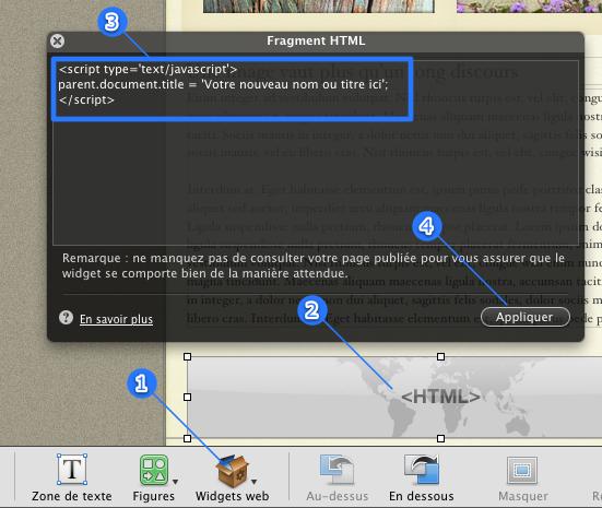 Titre des page dans le navigateur Iweb2011