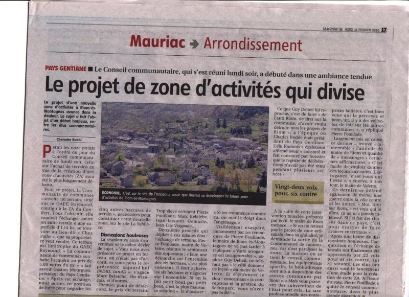 Riom Es Montagnes : Le projet de zone d'activités Image210