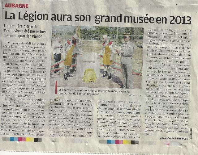 La Légion aura son grand Musée  en 2013 (Pose de la Premiere pierre) Articl10