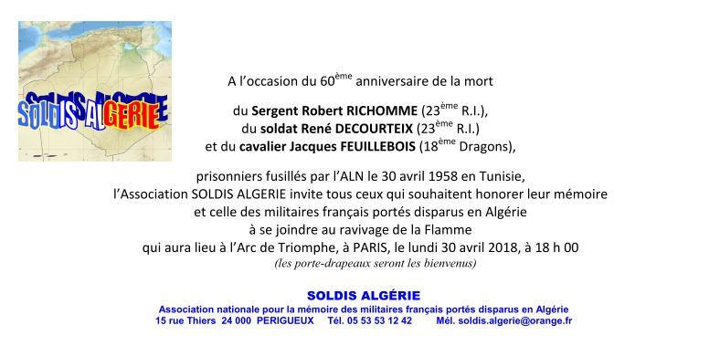 CÉRÉMONIE : Ravivage de la Flamme de l'Arc de Triomphe par l'Association des soldats disparus en Algérie (SOLDIS ALGERIE) à Paris le 30 avril 2018 à 18h00. 1invit10