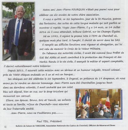Notre ami Jean-Pierre FOURQUIN (Promo 106 à l'EMI de Cherchell) n'était pas parmi nous pour fêter ces dix années  de notre chère association Jp_chh11