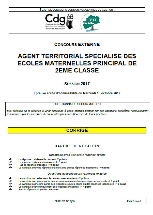 QCM CDG 68 CDG 70 2017 P110