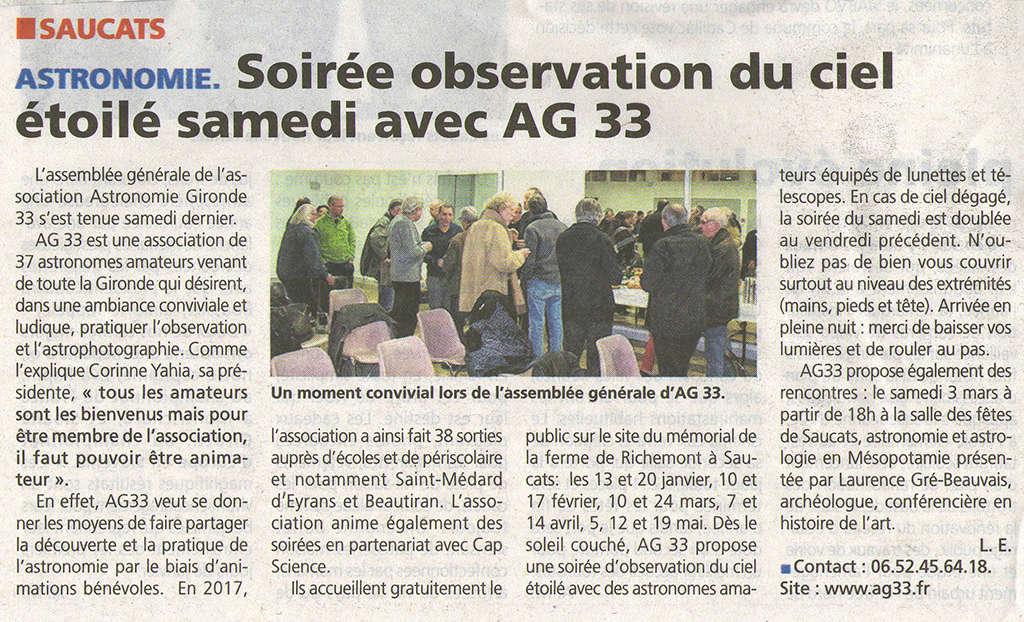 ASSEMBLÉE GÉNÉRALE AG33 samedi 6 janvier 2018 - Page 1 Ag_06013