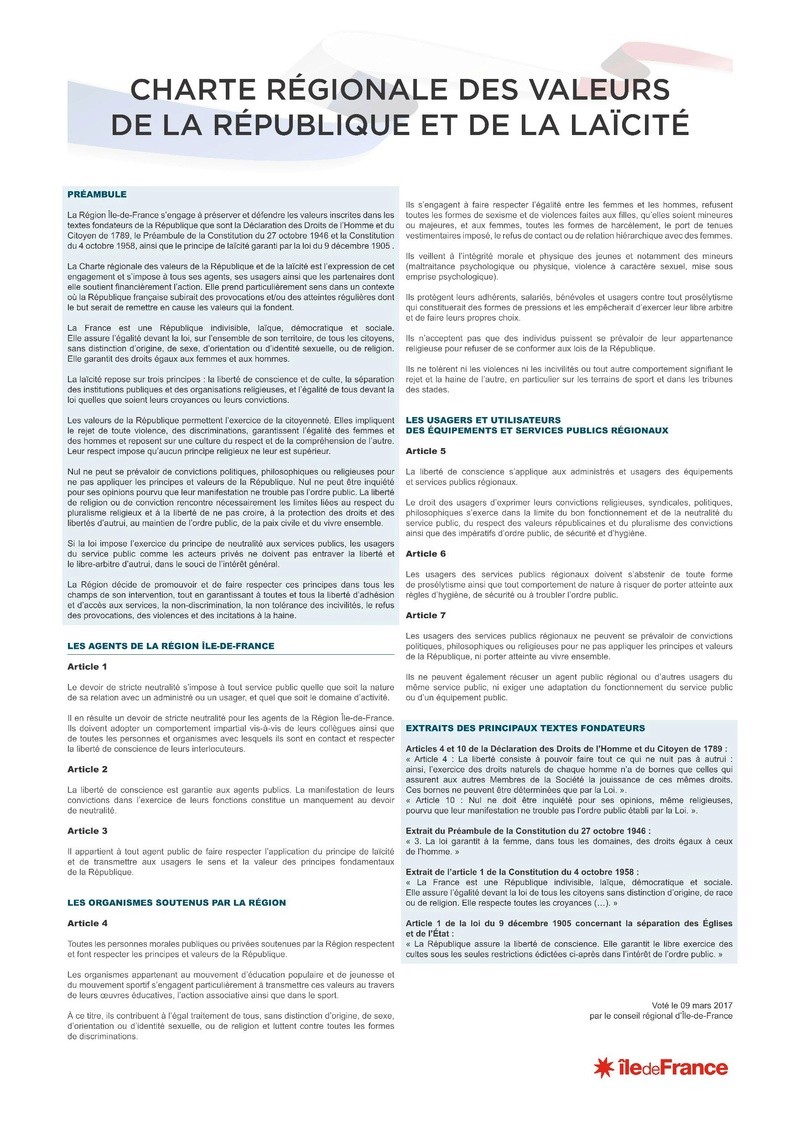 CHARTE RÉGIONALE DES VALEURS DE LA RÉPUBLIQUE ET DE LA LAÏCITÉ Charte10