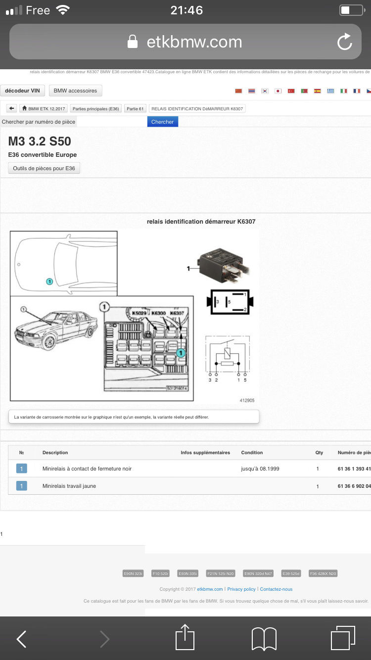 [ BMW E36 M3 3.0 S50 an 1994 ] ne démarre pas (Résolu) 0f491a10