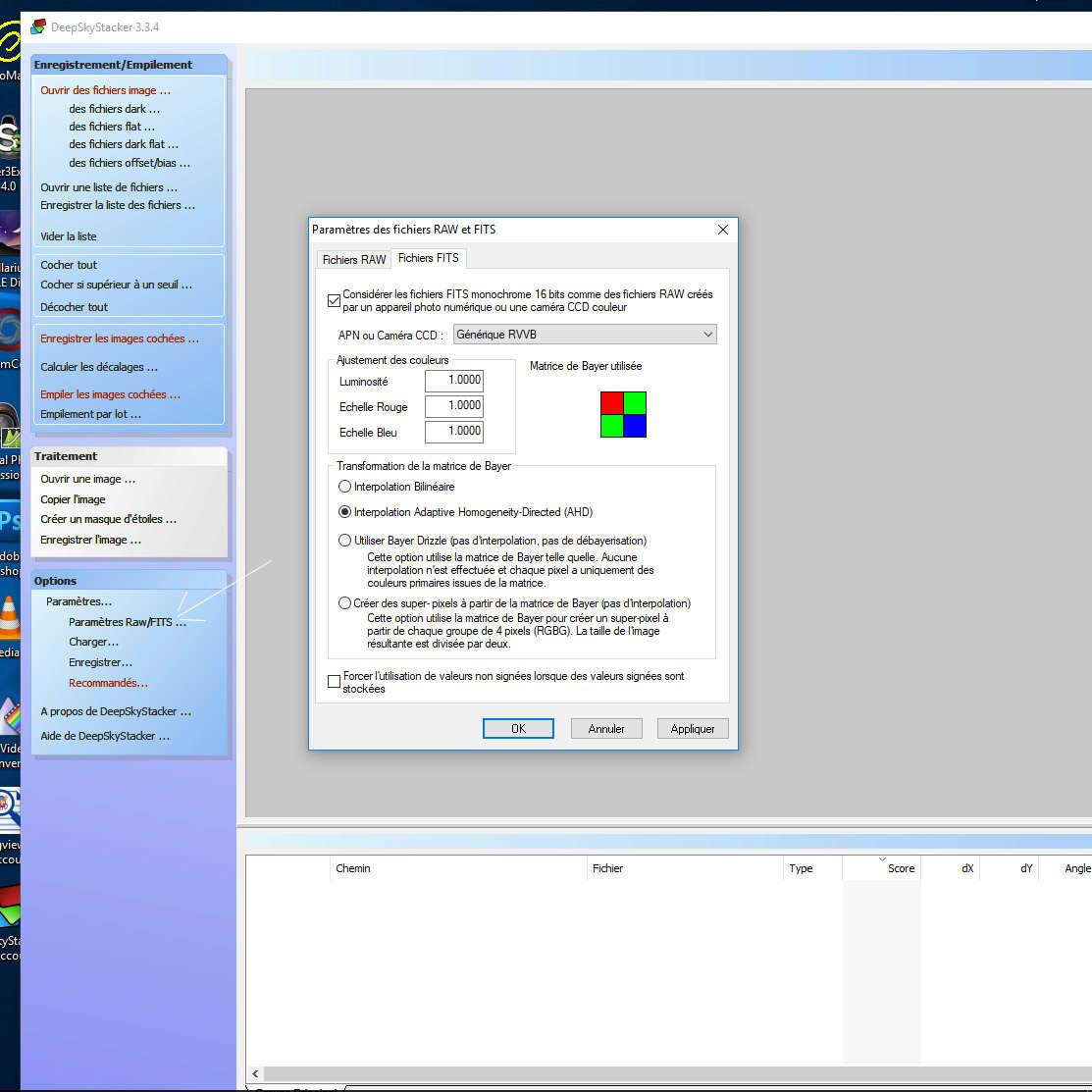 Paramètres CCD / APN Sans_t12