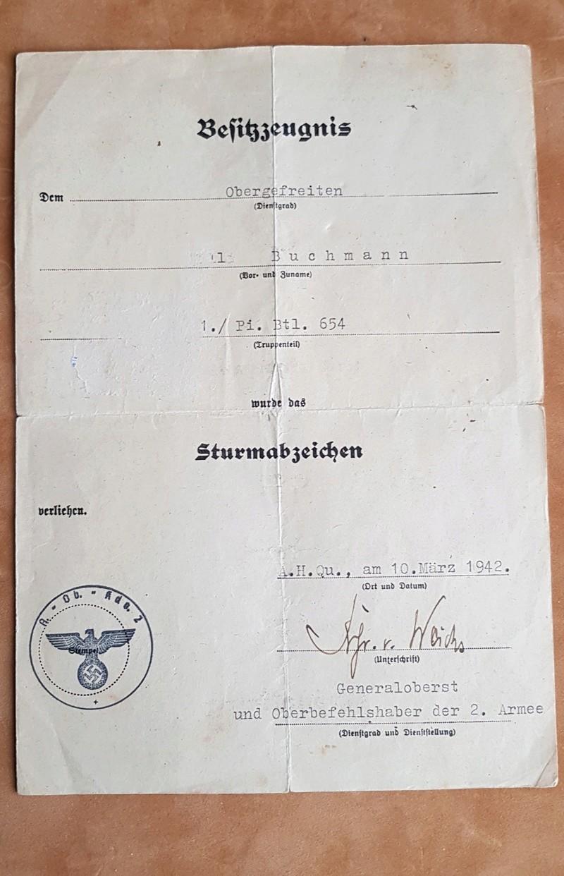 diplôme Sturmabzeichen (badge d'assaut général)+badge  20180432