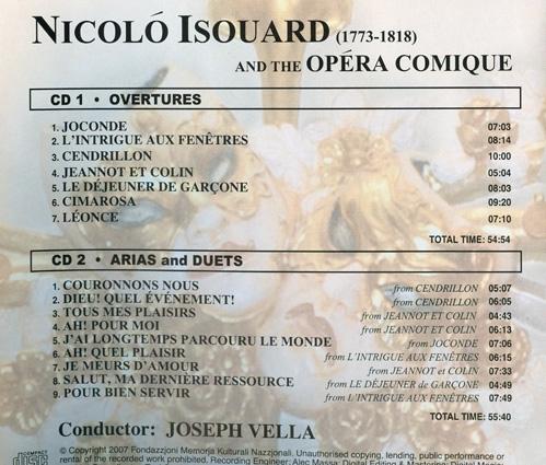 Nicolò Isouard, dit Nicolo (1773-1818) Back23