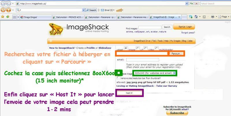 Comment insérer une image dans vos messages avec ImageShack 11111