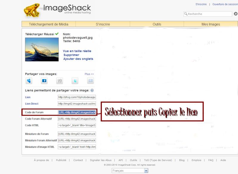 Comment insérer une image dans vos messages avec ImageShack Heberg12