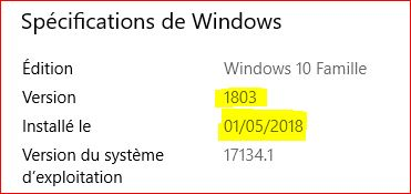 Installation windows 10 version 1803 180310