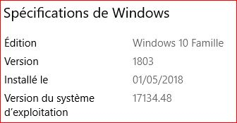 Mise à jour cumulative KB4103721 Windows10 version 1803 Maj_0110