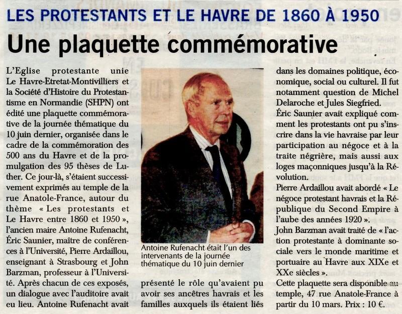 Les protestants et Le Havre de 1860 à 1950 2018-038