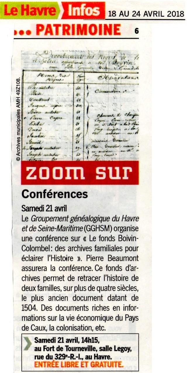 Conférence GGHSM : Le fonds BOIVIN-COLOMBEL par Pierre BEAUMONT 2018-040