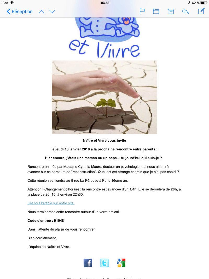 Pour les parisien(nes) : association Naître et Vivre & Réunions à thèmes  5d37c110