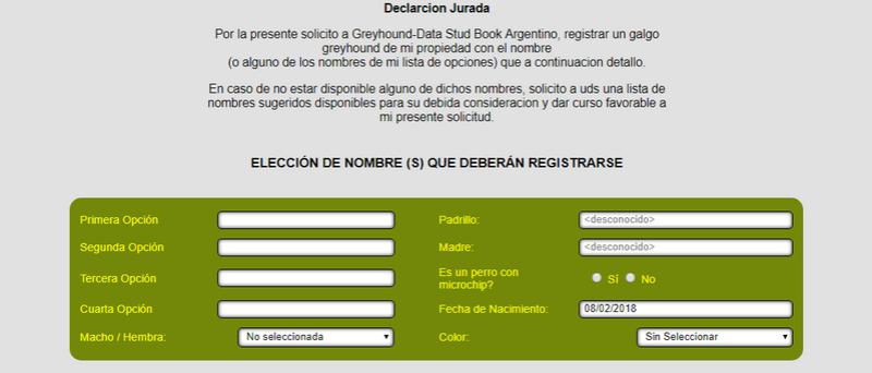 INSCRIBIR PERROS EN EL GREYHOUNDA-DATA Data310