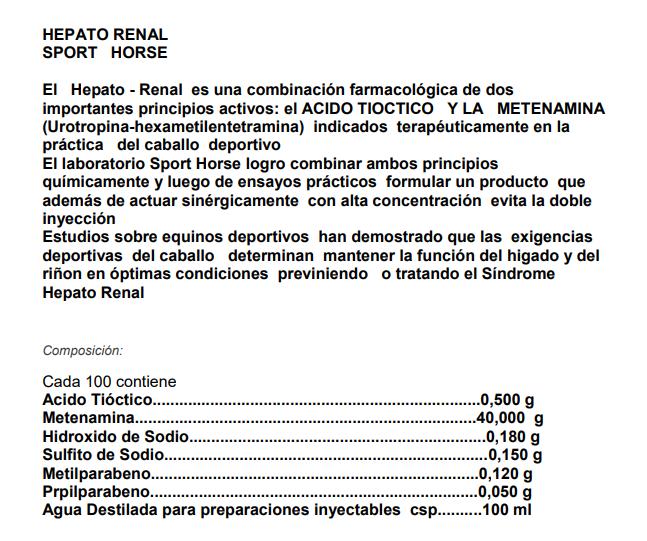 HEPATO RENAL ENVASE 250 ML $ 27.000.- Etique10