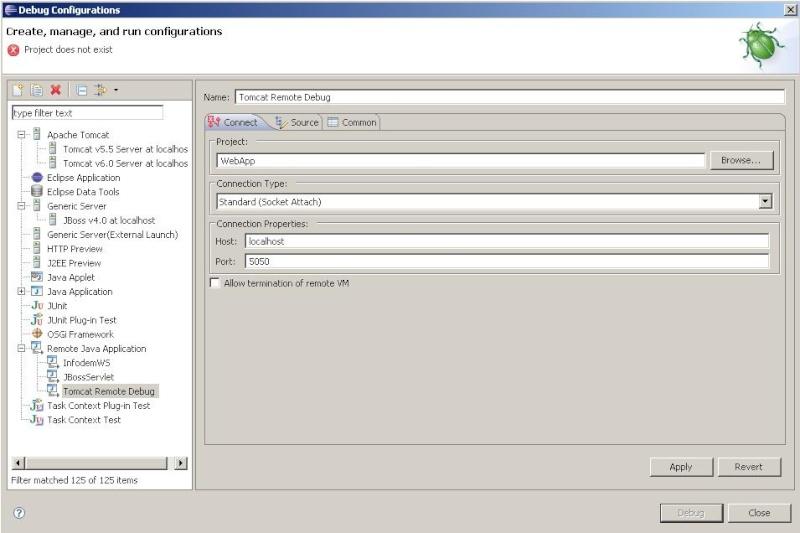 Remote Debug com Eclipse e Tomcat 110