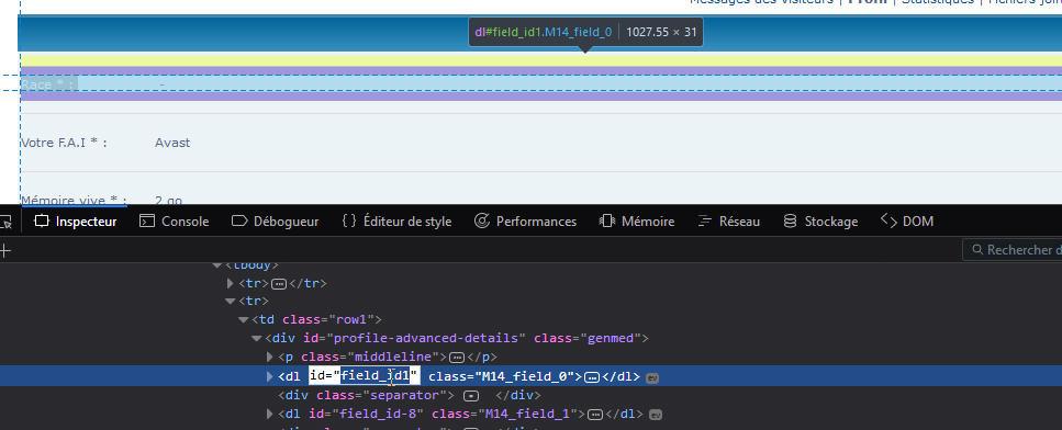 Récupérer les champs des profils pour mise en forme 1210