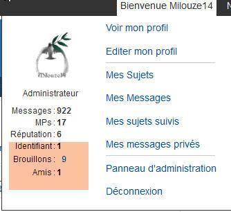 [PUNBB] Afficher l'id/ami et brouillon dans le Welcome de la toolbar 222