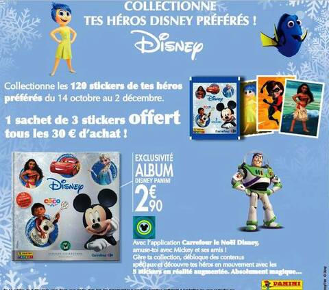 Collection Echange Stickers Heros Disney Carrefour 2017