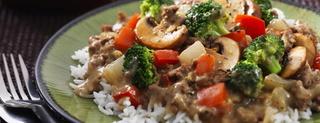 Bœuf et brocoli en sauce avec riz Baouf-10