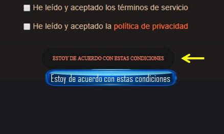"""Se puede personalizar el boton """"Estoy de acuerdo con estas condiciones""""? 11aa13"""
