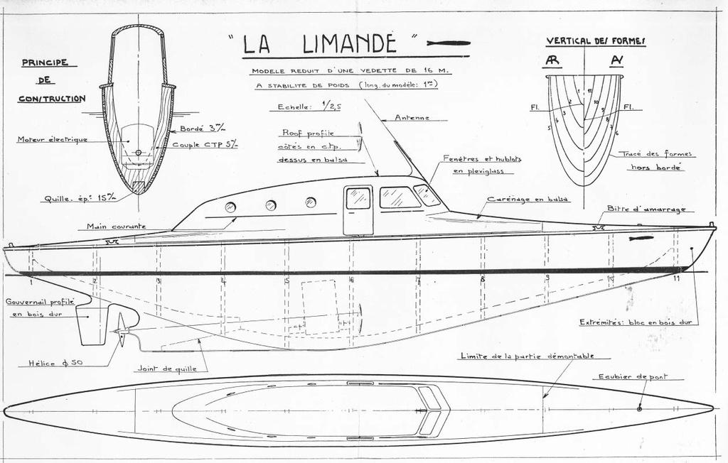 La Limande vedette de 16m au 1/16eme plan de MRB N°92 de 1960 Articl11