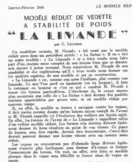 La Limande vedette de 16m au 1/16eme plan de MRB N°92 de 1960 Articl15